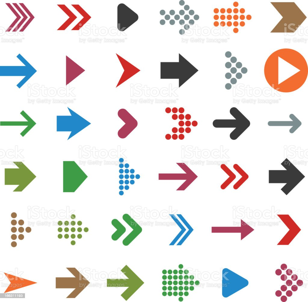 Vector set of multicolored arrow icons vector art illustration