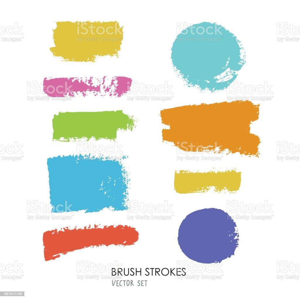 Vector set of multicolored grunge brush strokes on white background. vector art illustration