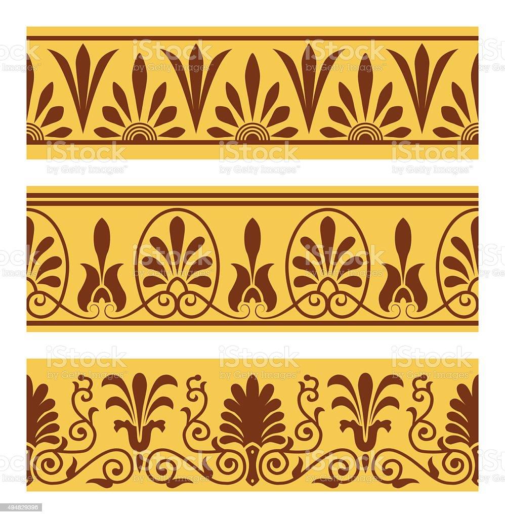 Vector set of national greek seamless ornaments (patterns) vector art illustration