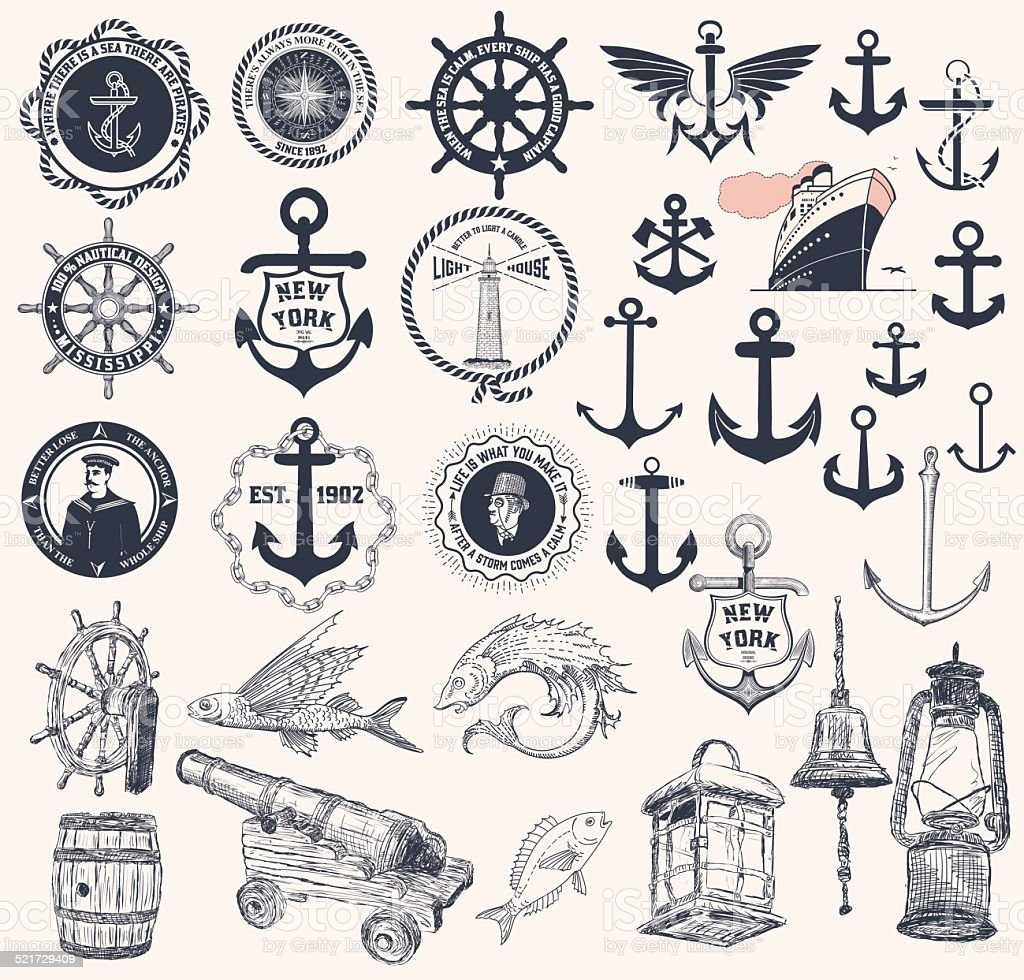 Vector. Set of nautical elements vector art illustration