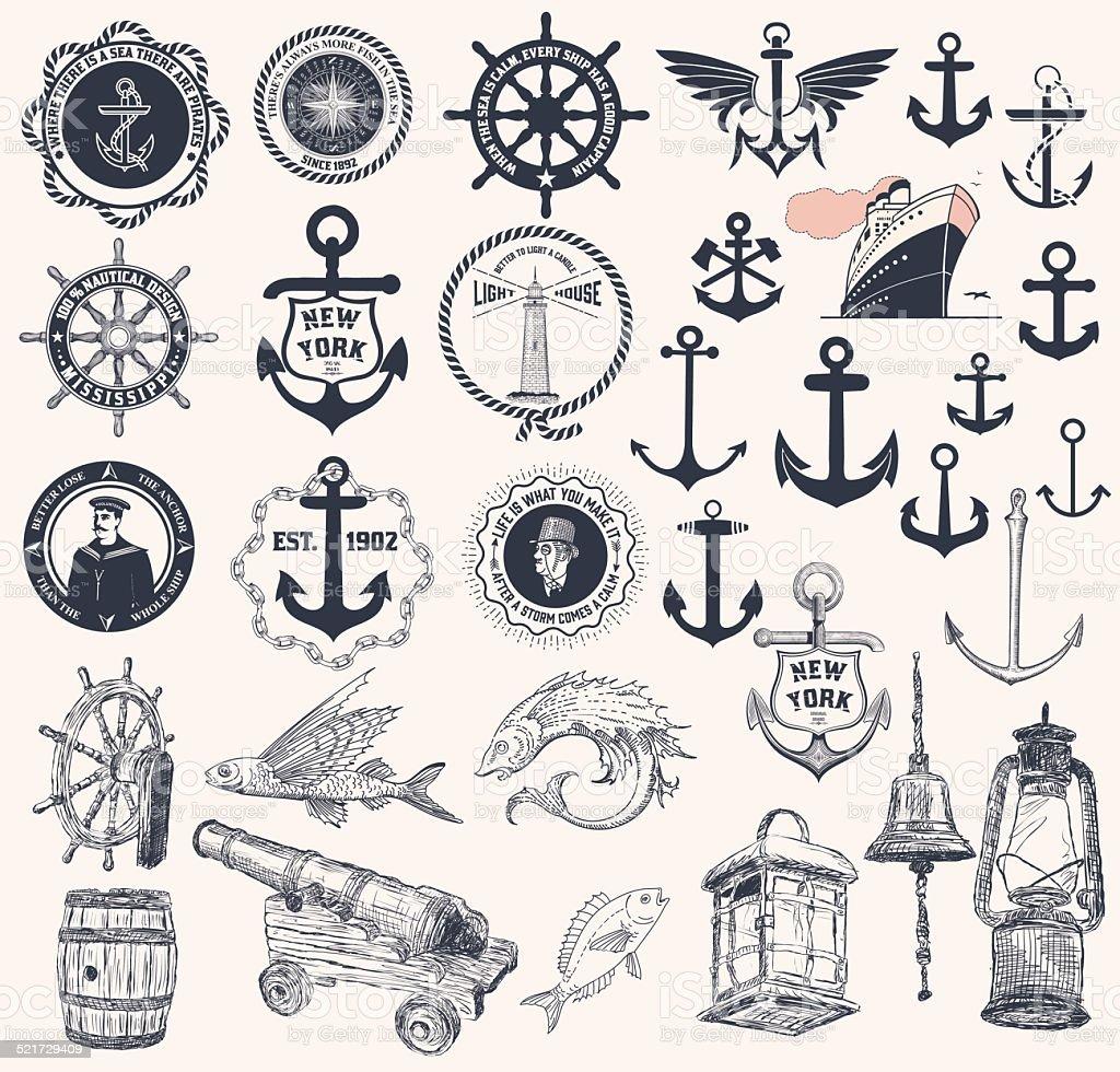 Vector. Set of nautical elements vector art illustration