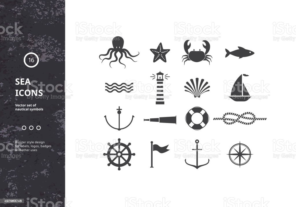 Vector Set of Nautical Icons. vector art illustration