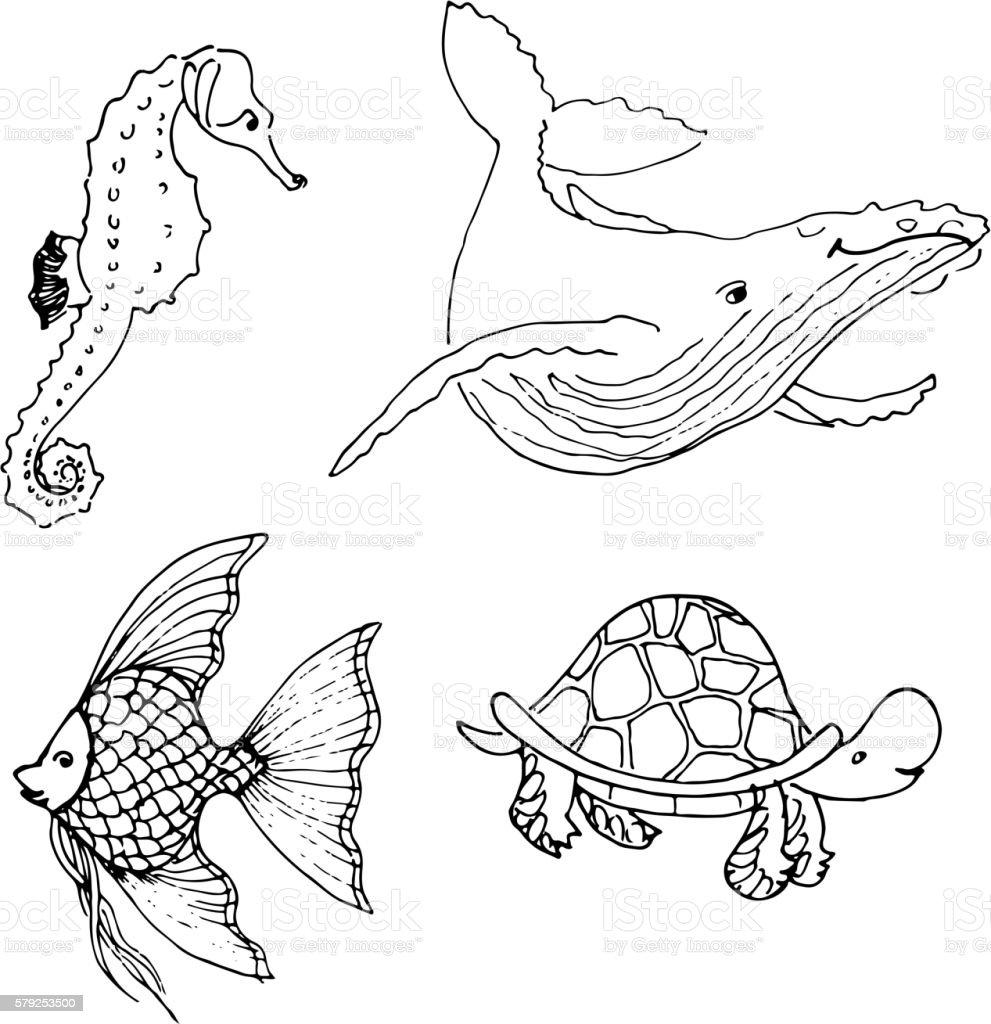 Vector set of ocean animals. Hand drawn underwater cartoon creatures....