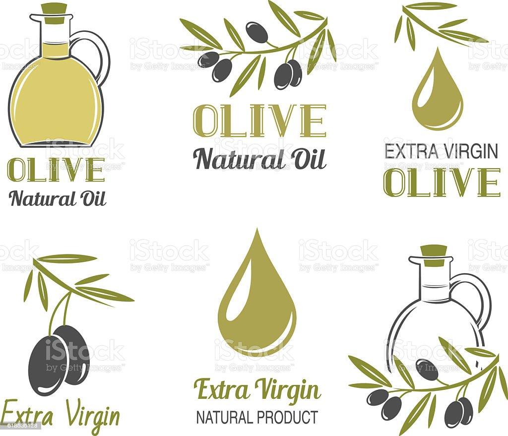 Vector set of olive oil labels vector art illustration
