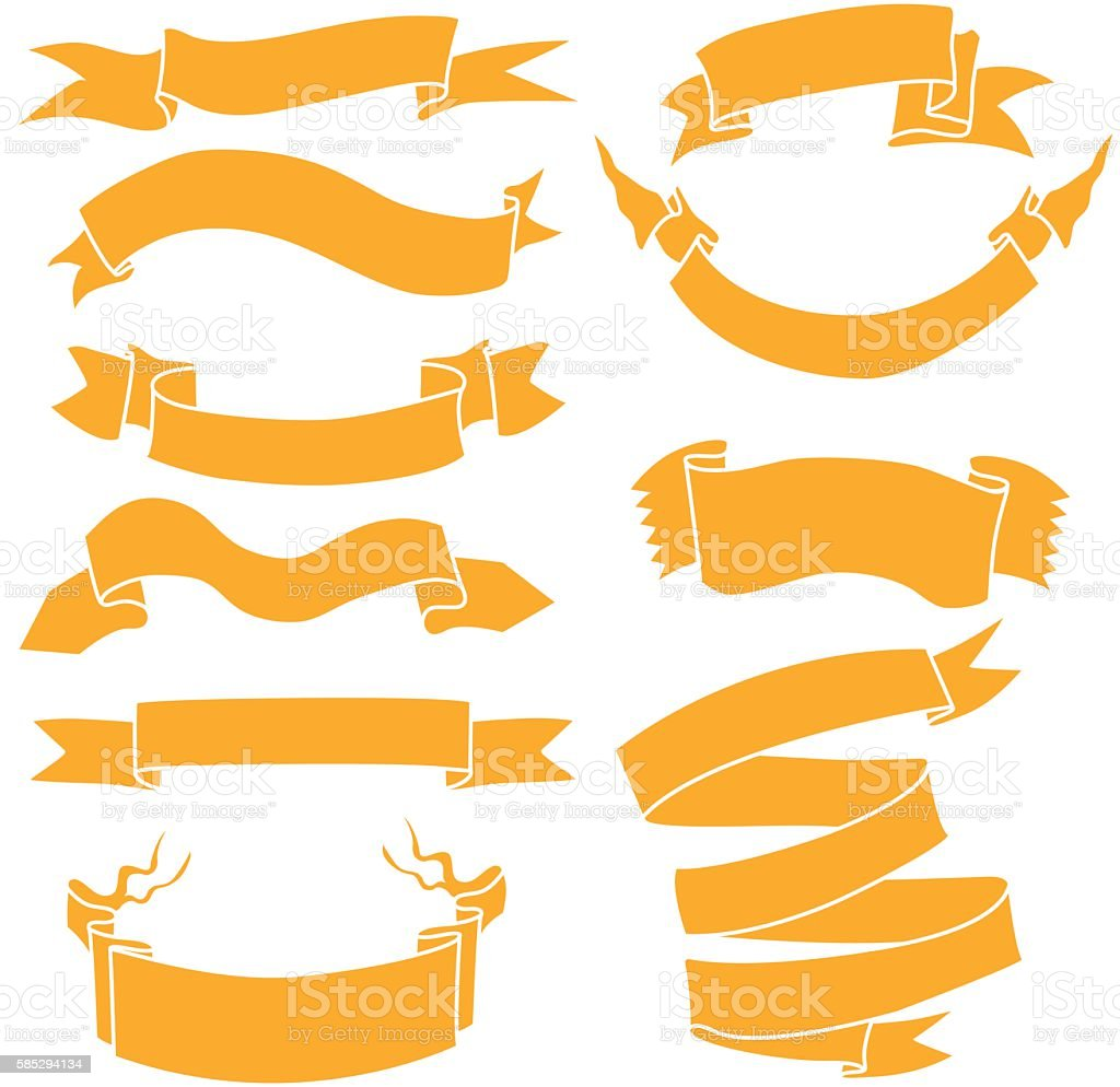 Vector Set of Orange Ribbons for Your Text vector art illustration