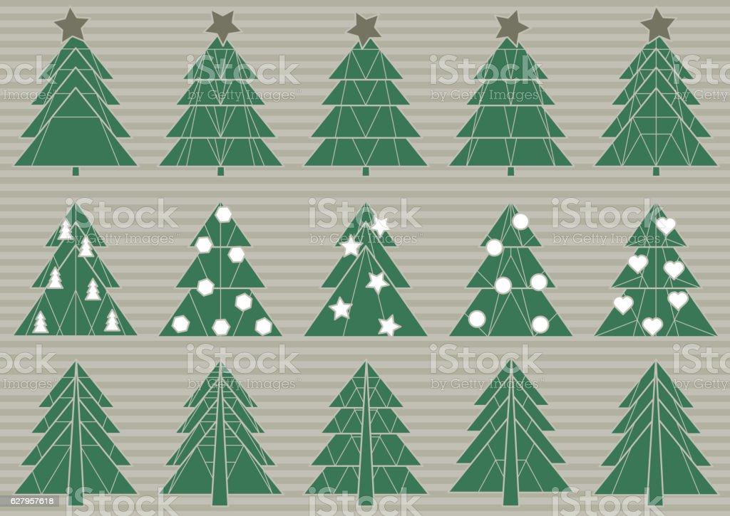 Vector set of origami Christmas trees vector art illustration
