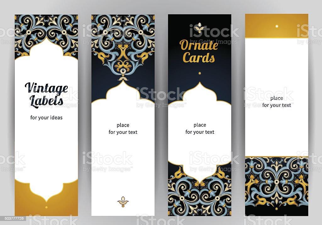 Vector set of ornate cards in Eastern style. vector art illustration