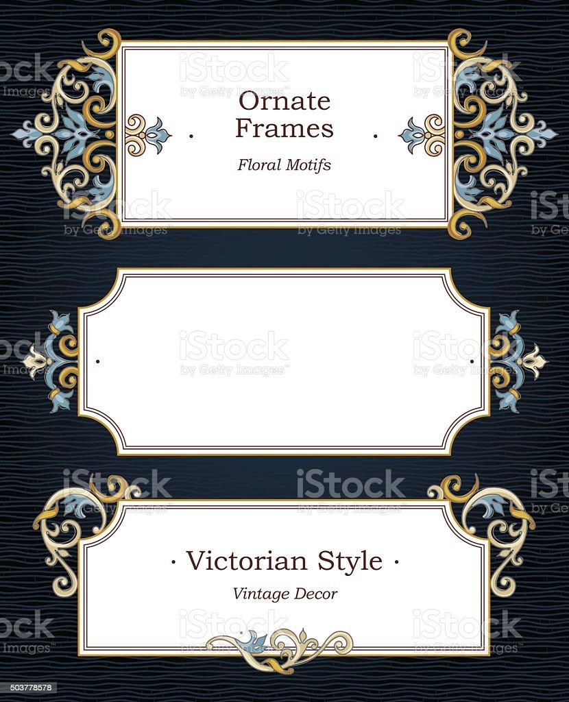 Vector set of ornate frames in Victorian style. vector art illustration