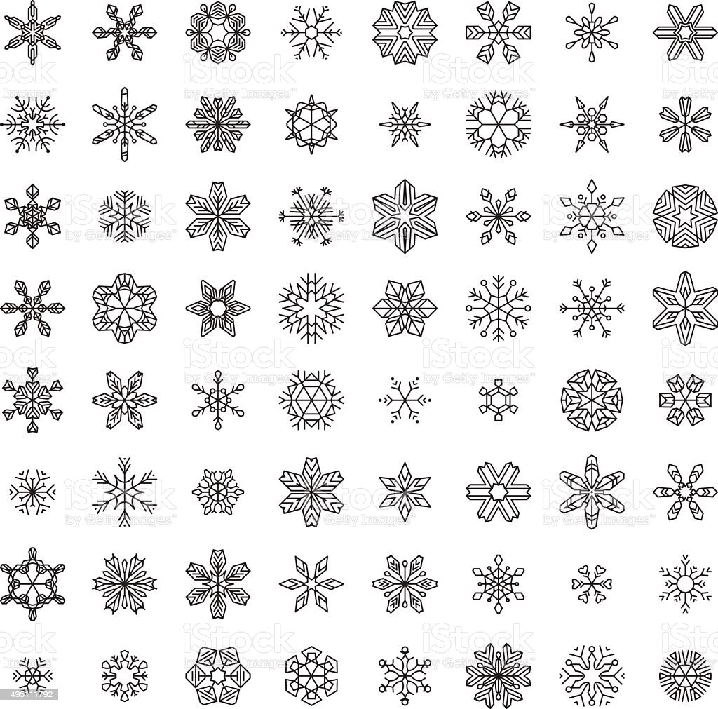 Vector Set of Outlined Snowflakes. vector art illustration