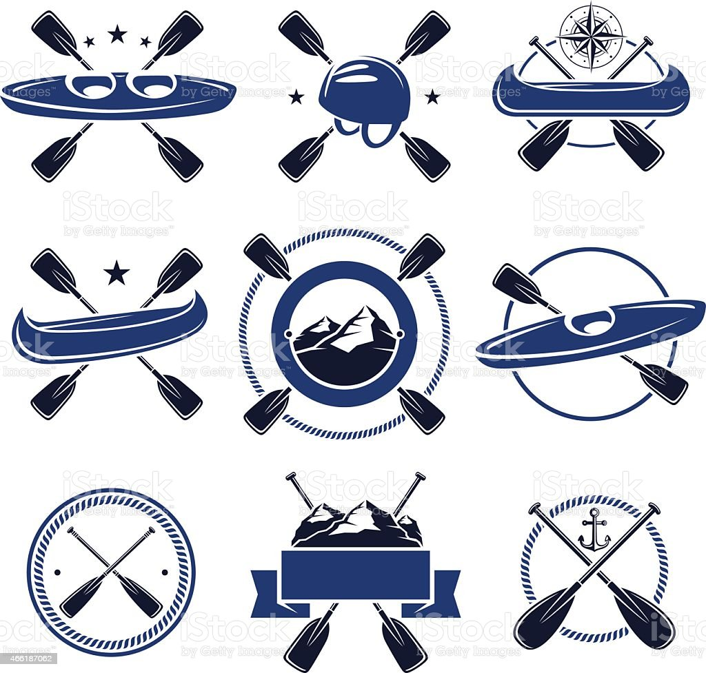 Vector set of paddle and nautical labels in blue and black vector art illustration