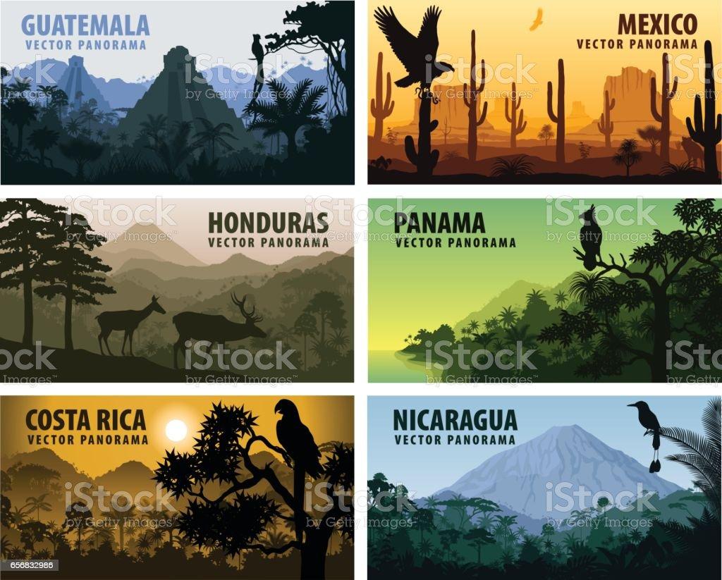 vector set of panorams countries Central America - Guatemala, Mexico, Honduras, Nicaragua, Panama, Costa Rica vector art illustration