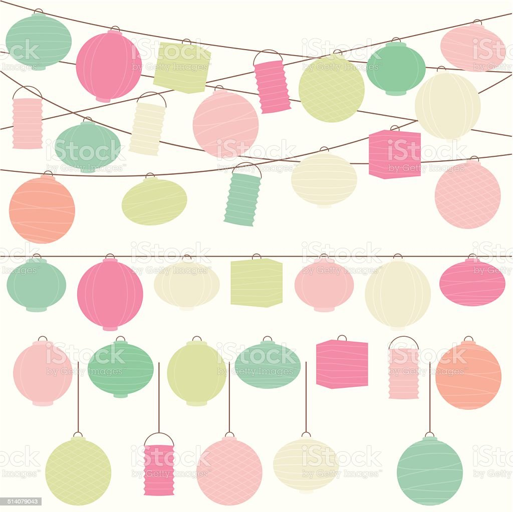 Vector Set of Pastel Colored Holiday Paper Lanterns and Lights vector art illustration