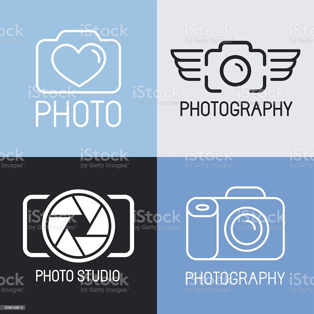Vector set of photography logos vector art illustration