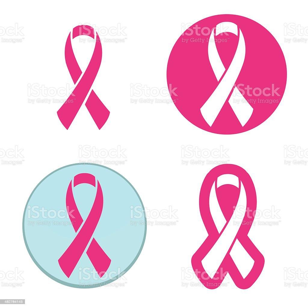 Vector set of pink ribbons symbols for breast cancer awareness vector art illustration
