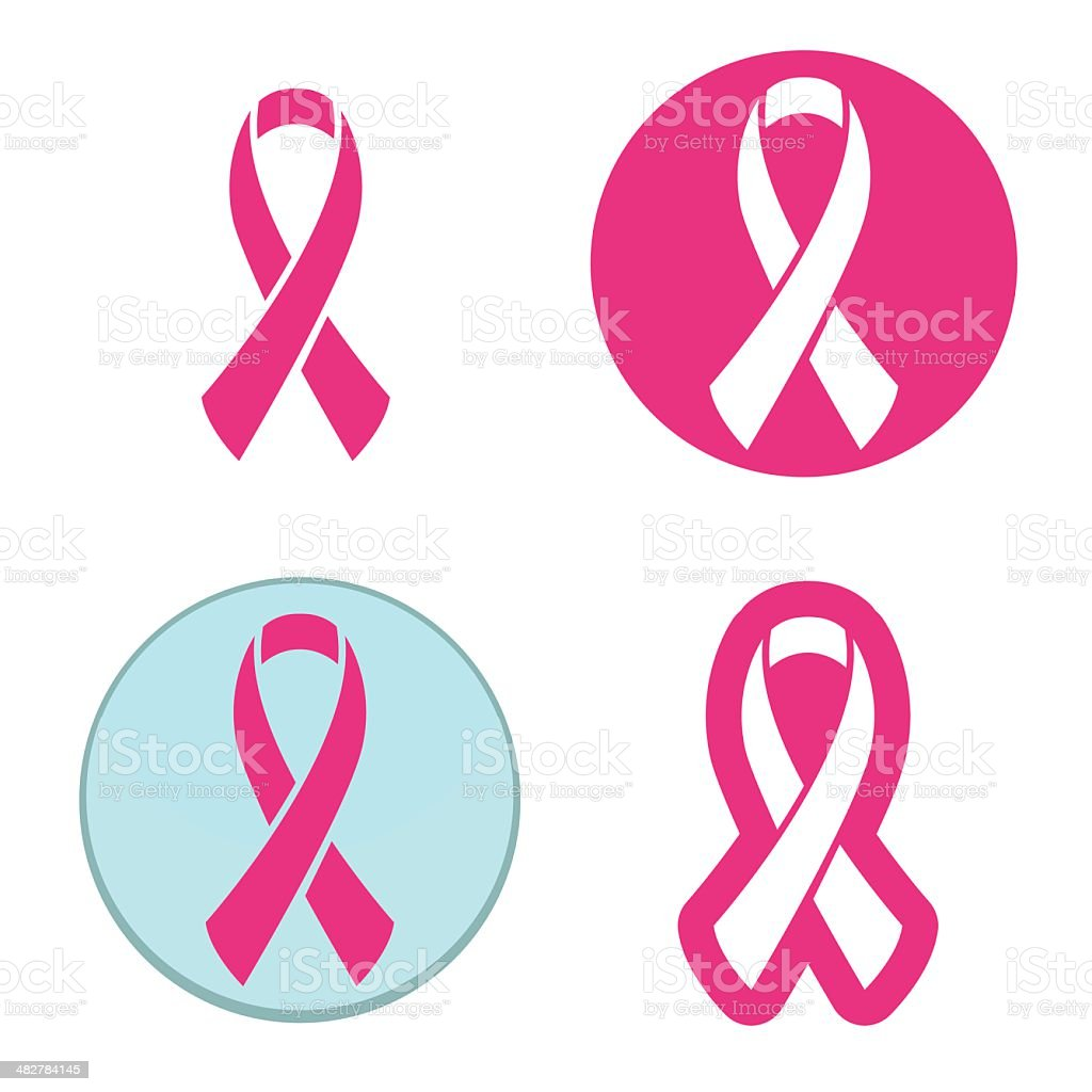 Vector set of pink ribbons symbols for breast cancer awareness vector art illustration