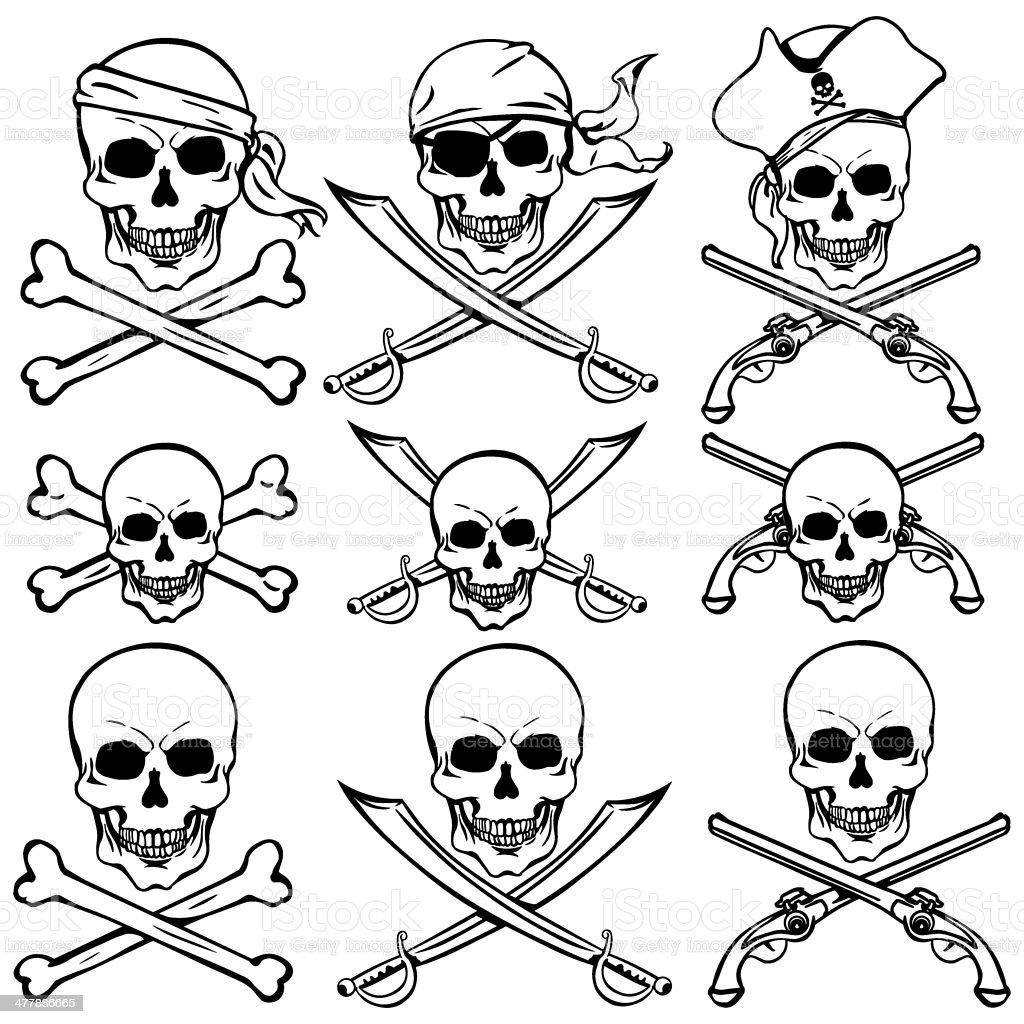 vector set of pirate skulls royalty-free stock vector art