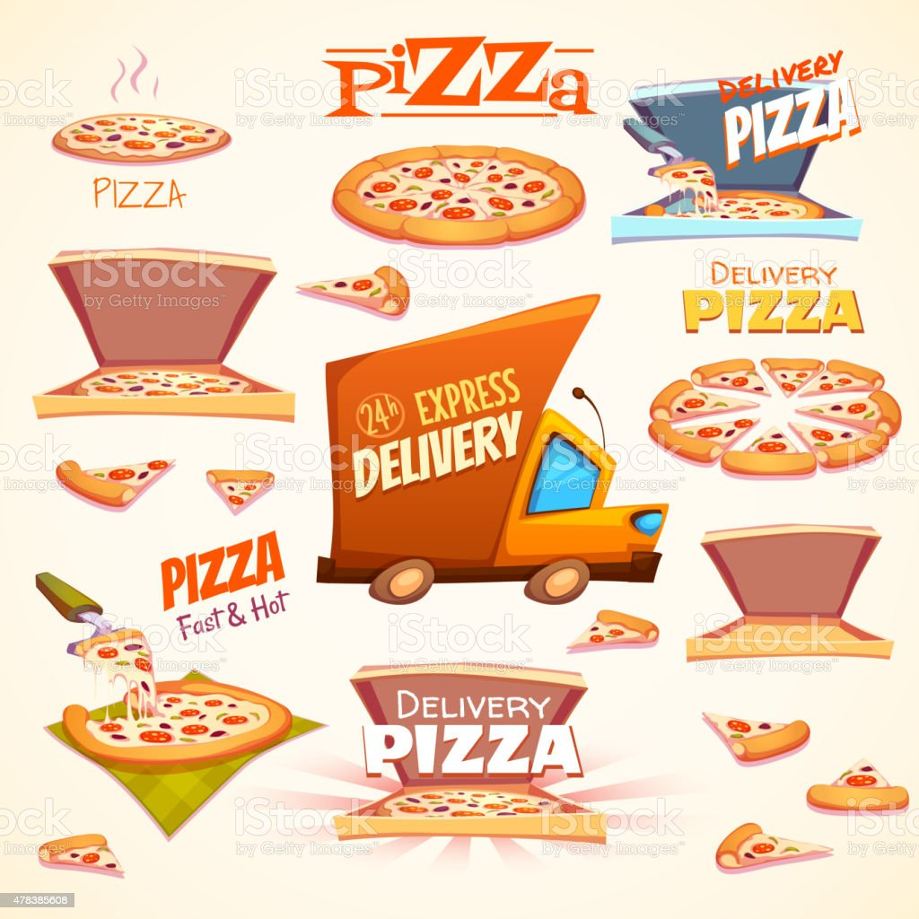 Vector set of Pizza icons, labels, signs, symbols and design vector art illustration