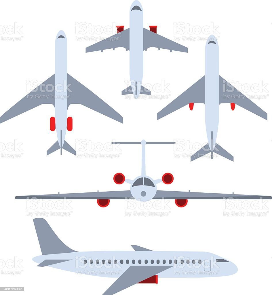 Vector set of planes. Passenger planes, the airplane, aircraft vector art illustration