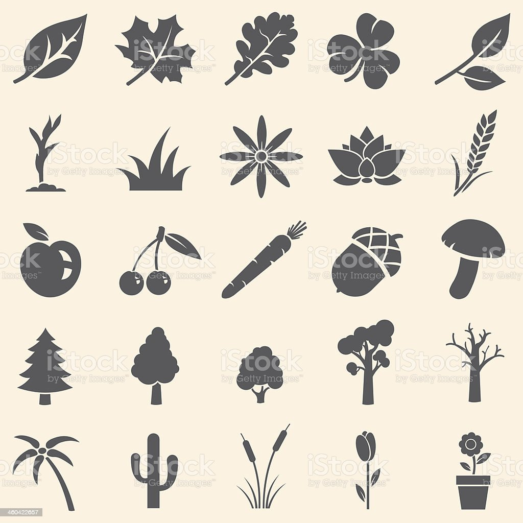 vector set of plants icons vector art illustration