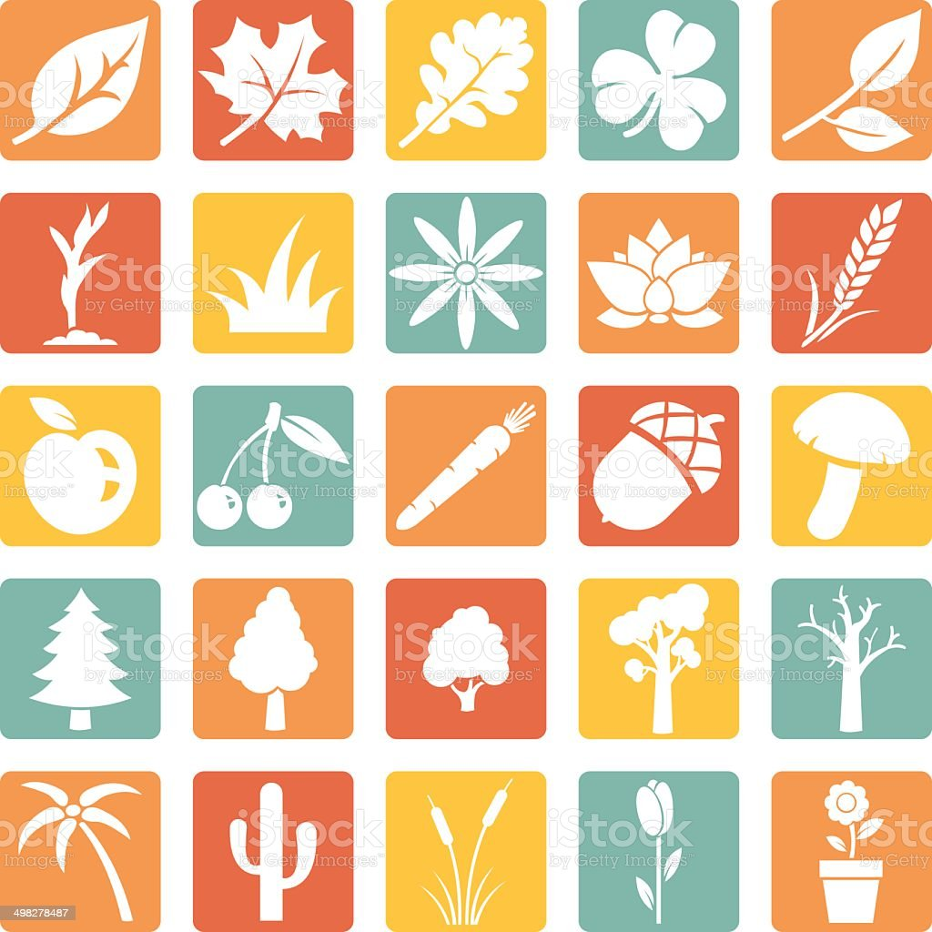Vector Set of Plants Icons royalty-free stock vector art