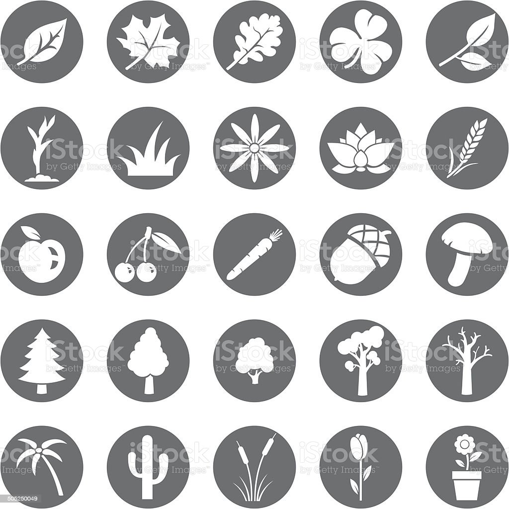 Vector Set of Plants Icons vector art illustration