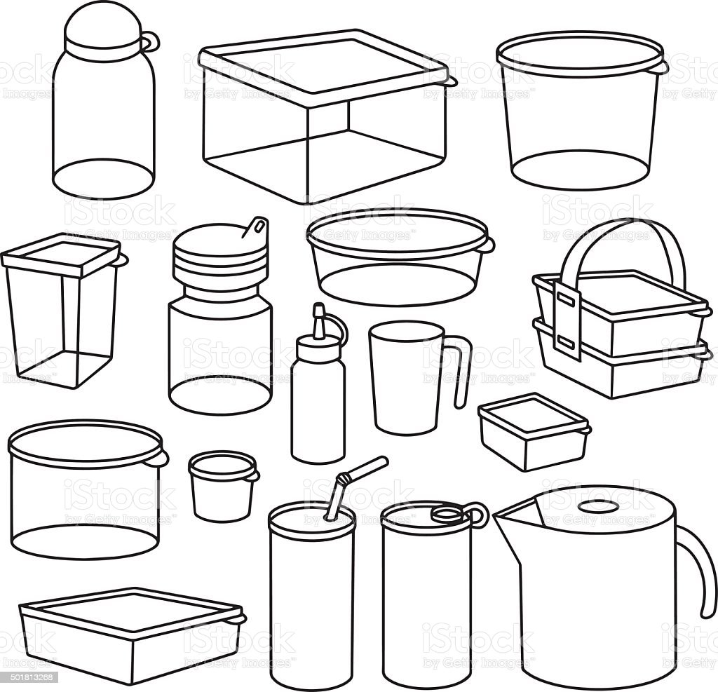 vector set of plastic container vector art illustration