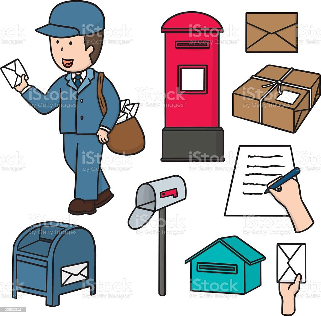 vector set of postman and postbox vector art illustration