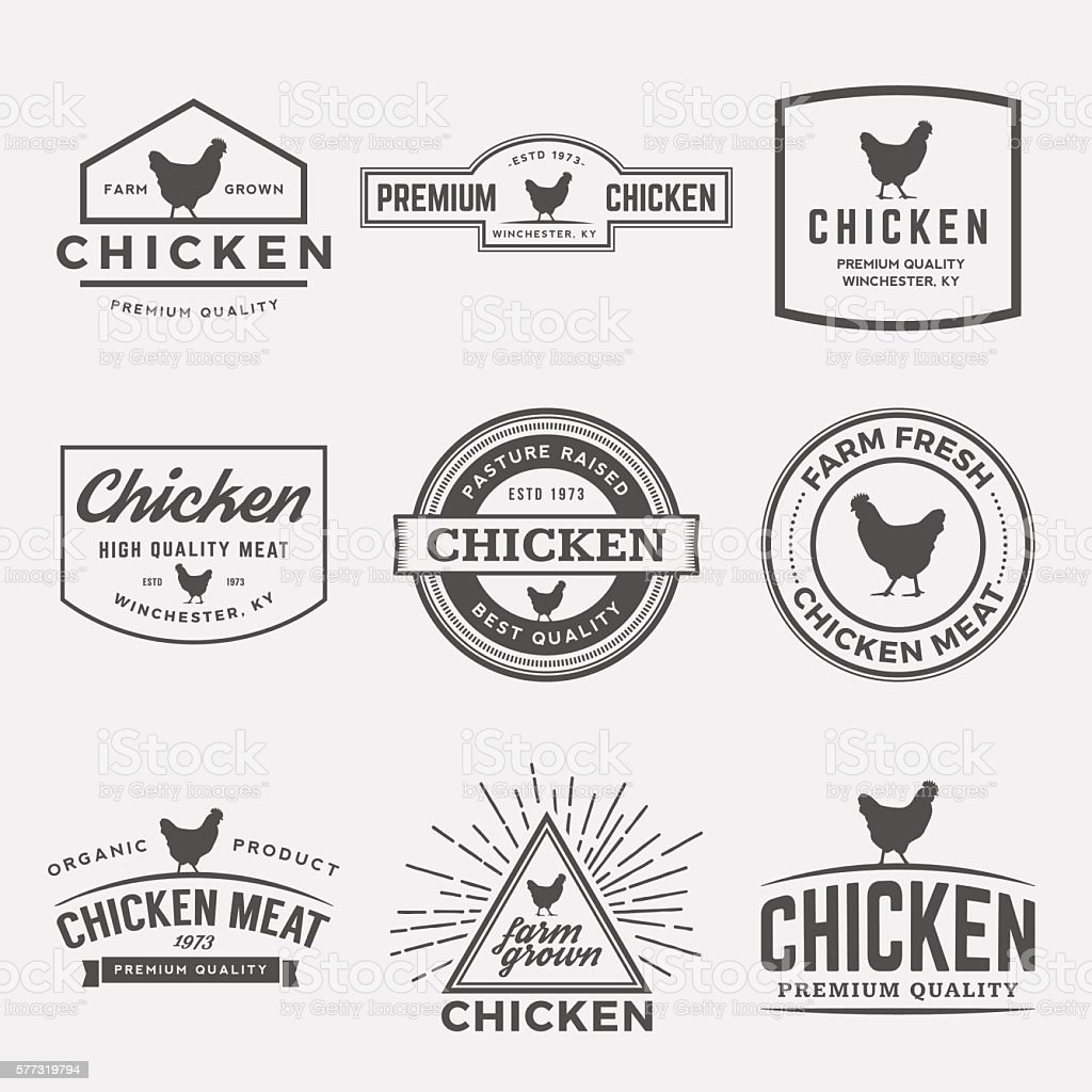 vector set of premium chicken meat labels, badges and designs vector art illustration