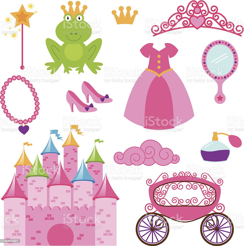 Vector Set of Princess and Fairy Items vector art illustration