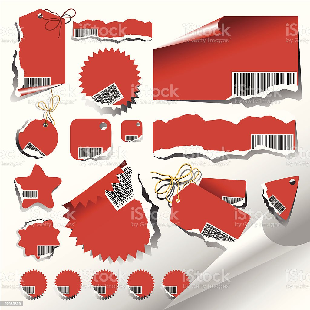 Vector set of ragged labels royalty-free stock vector art
