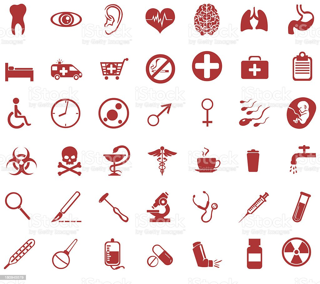 Vector set of red medical icons royalty-free stock vector art