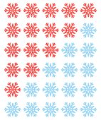 Vector set of red rating snowflakes over white.
