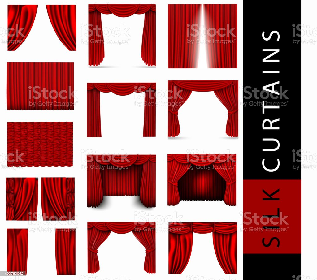 vector set of red silk curtains vector art illustration