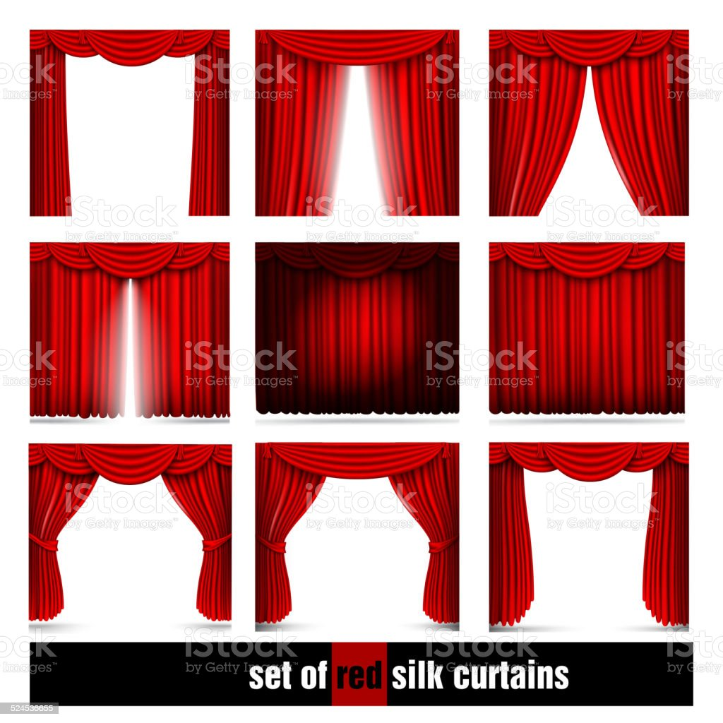 vector set of red silk curtains with light and shadows vector art illustration