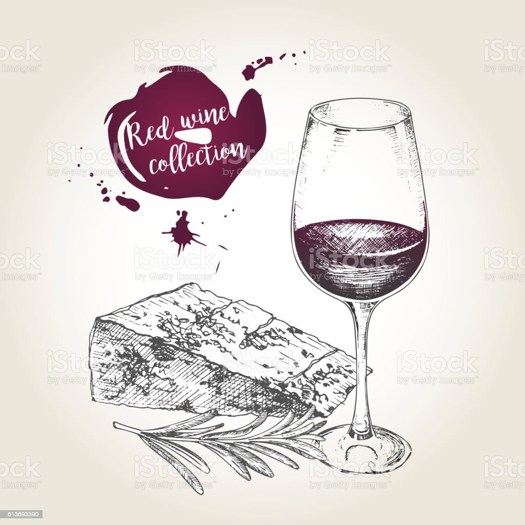 Vector set of red wine collection. Glass, cheese and rosemary. vector art illustration