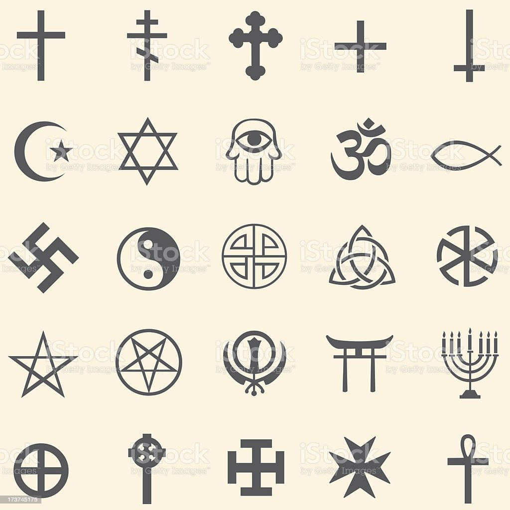 Vector set of religious symbols royalty-free stock vector art