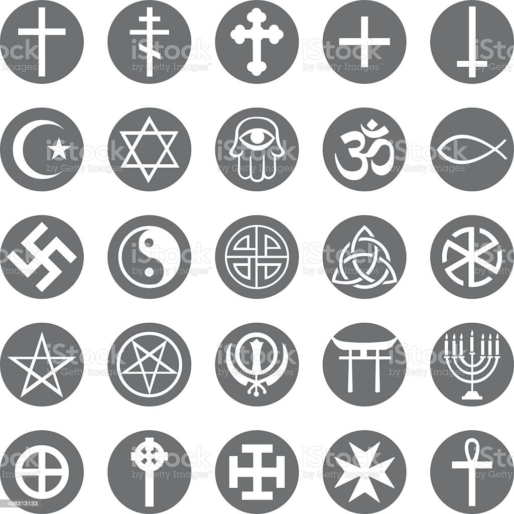 Vector Set of Religious Symbols vector art illustration
