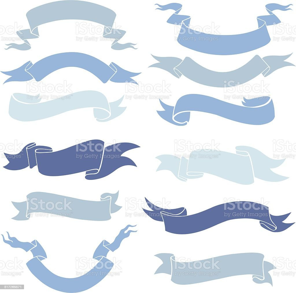 Vector Set of Ribbons for Your Text vector art illustration