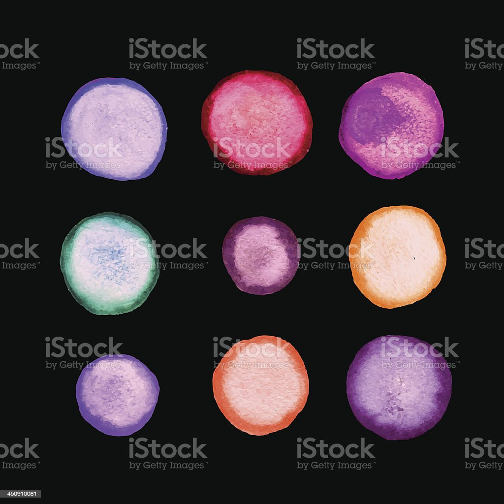 Vector set of round watercolor stains. royalty-free stock vector art