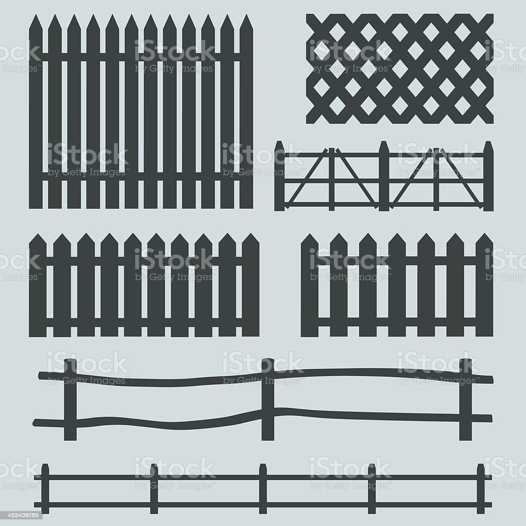 vector set of rural fences silhouettes vector art illustration