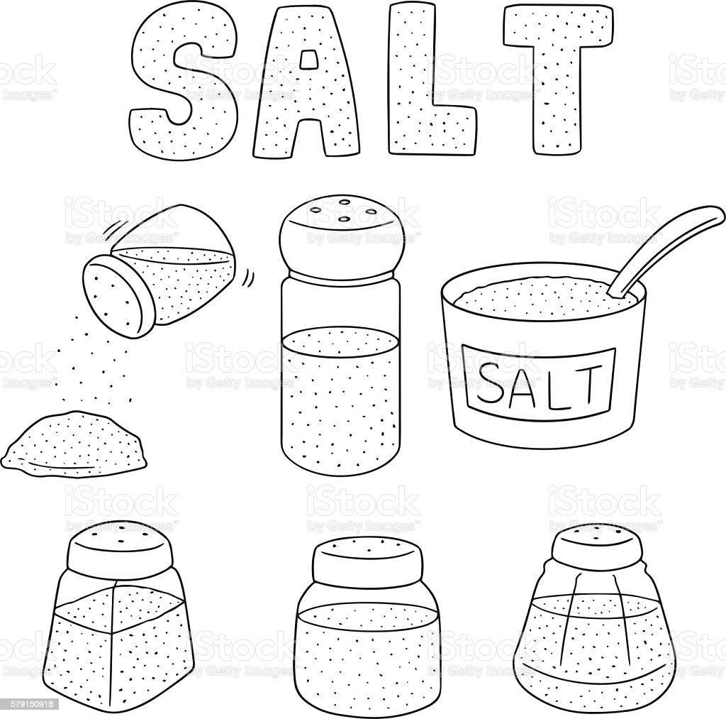 vector set of salt vector art illustration