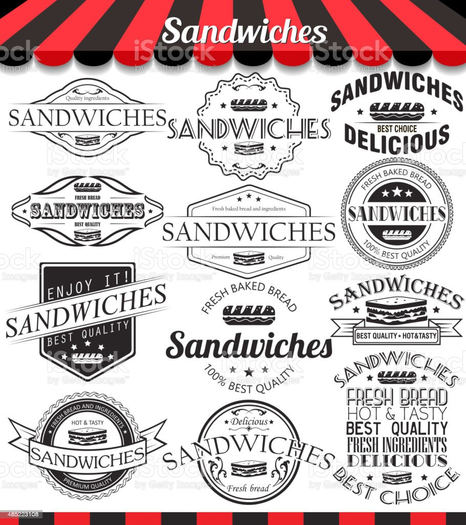 Vector set of sandwiches retro vintage labels and logos vector art illustration