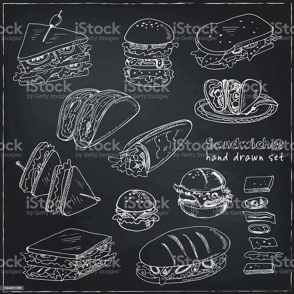 Vector Set of sandwiches vector art illustration