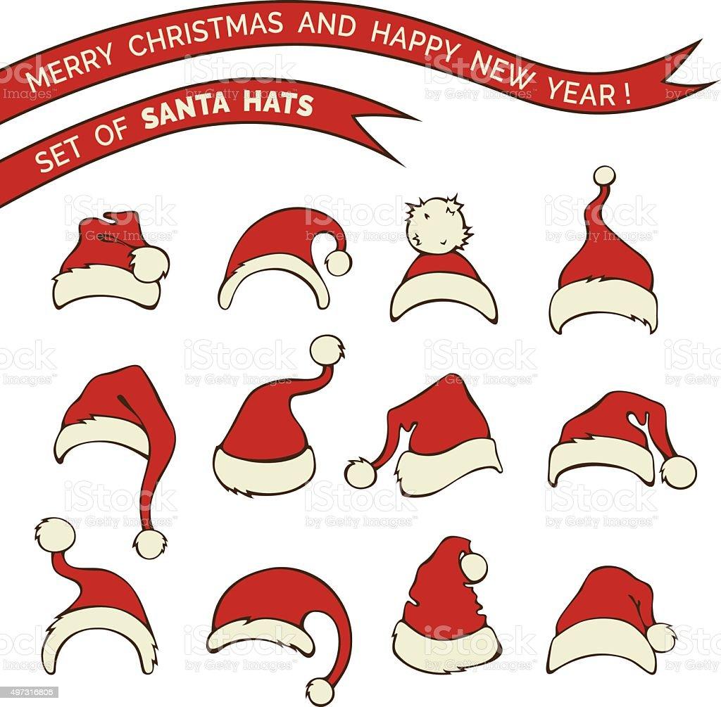 Vector set of Santa hats. vector art illustration