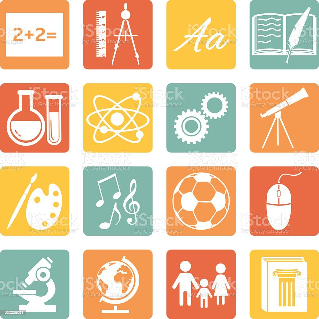 Vector Set of  School Subjects Icons. vector art illustration