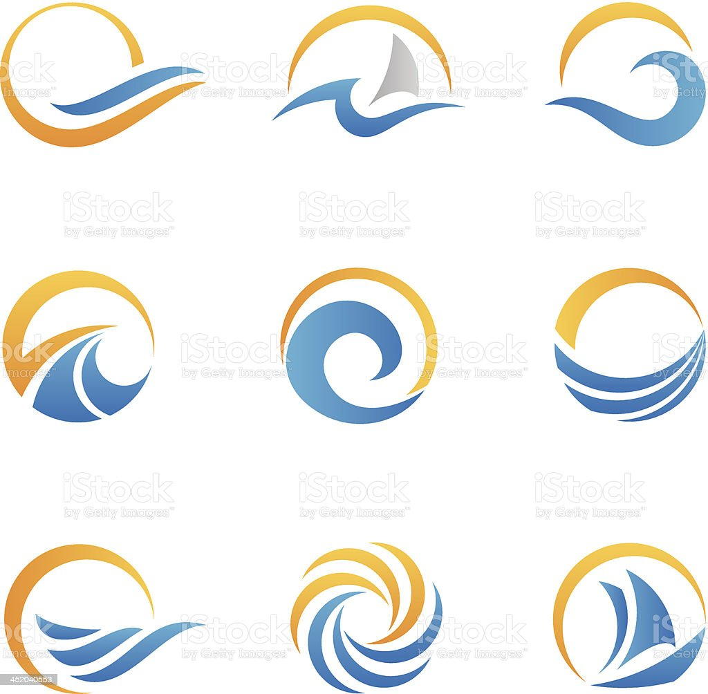 Vector set of sea symbol icons vector art illustration