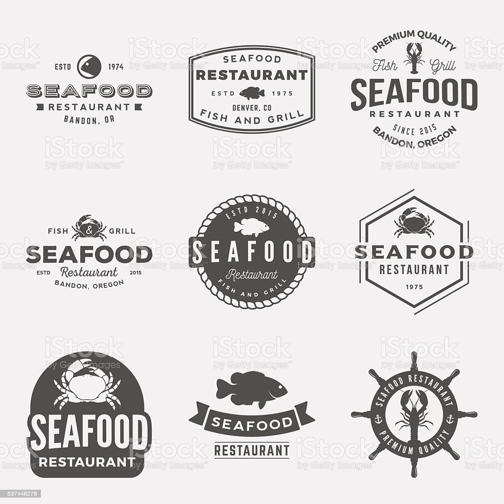 vector set of seafood restaurant vintage logos, emblems, silhoue vector art illustration