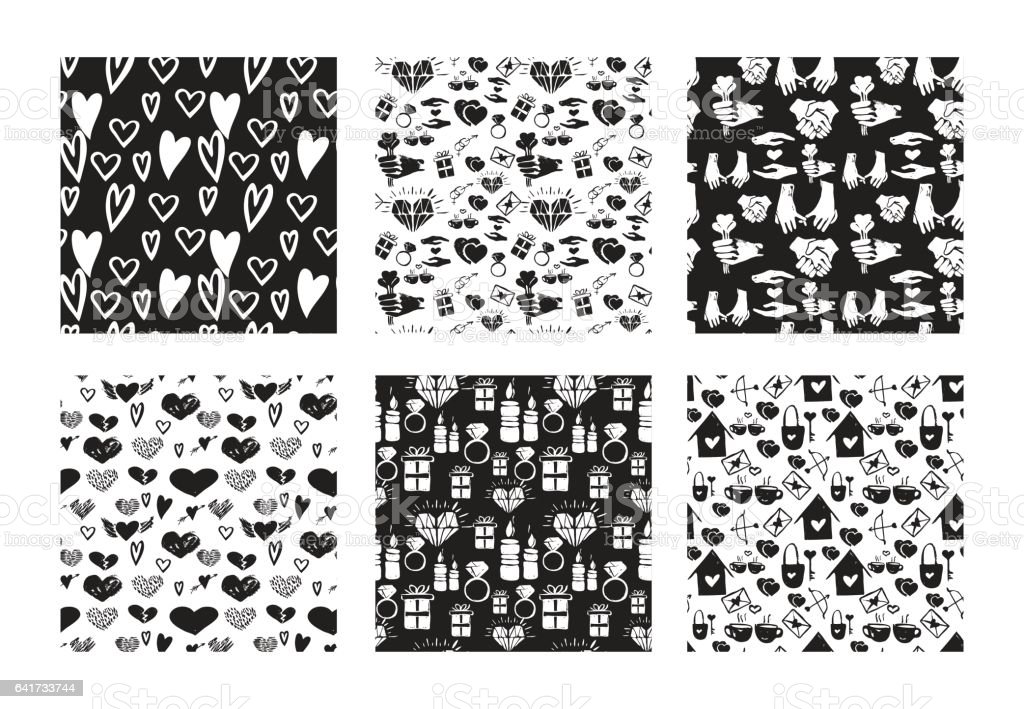 Vector set of seamless hand drawn patterns. Love, romance, valentines, wedding, couple, relationship theme. Black and white patterns for textile, paper, book, game, cards, banner, web design. vector art illustration
