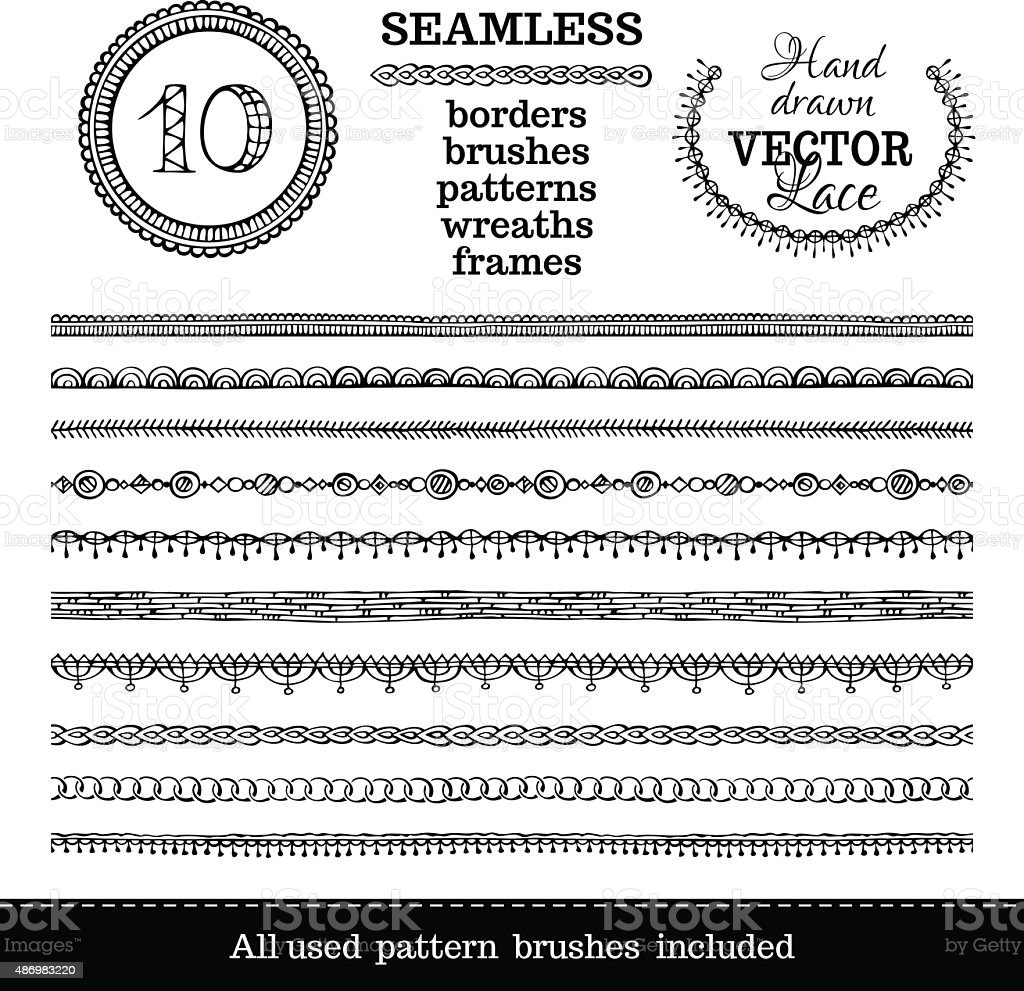 Vector set of seamless hand-drawn ethnic borders. vector art illustration
