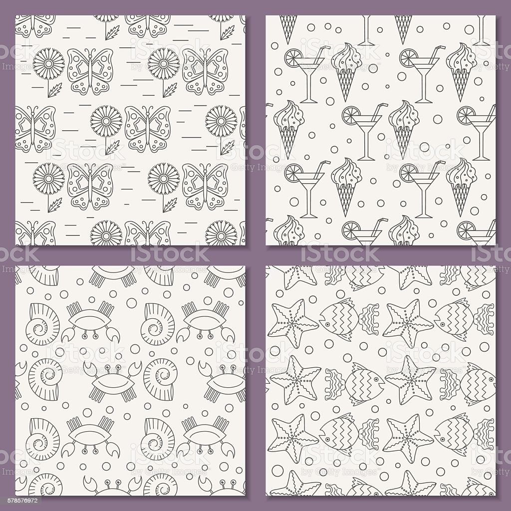 vector set of seamless patterns for the summer theme royalty-free stock vector art
